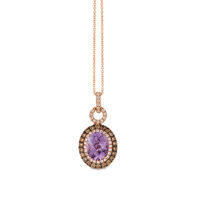 14K Strawberry Gold® Grape Amethyst™ 2 cts. Pendant with Chocolate Diamonds® 1/2 cts., Vanilla Diamonds® 1/4 cts. | SVFF 55